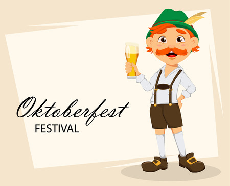 Oktoberfest, beer festival. Funny redhead man, cartoon character holding a glass of beer. Vector illustration on abstract background