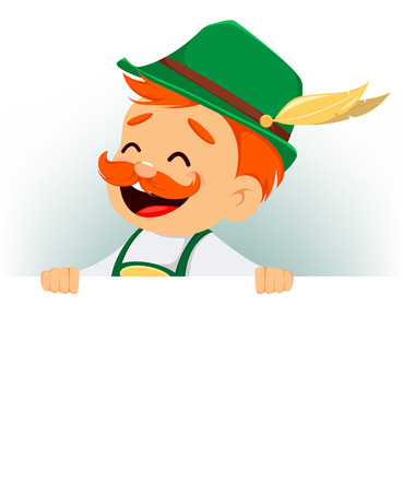 Oktoberfest, beer festival. Funny man, cartoon character standing behind a blank banner. Vector illustration