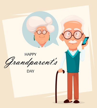 Grandparents day greeting card. Grandfather calling to grandmother. Silver haired grandma and grandpa. Pretty cartoon characters. Vector illustration Vettoriali