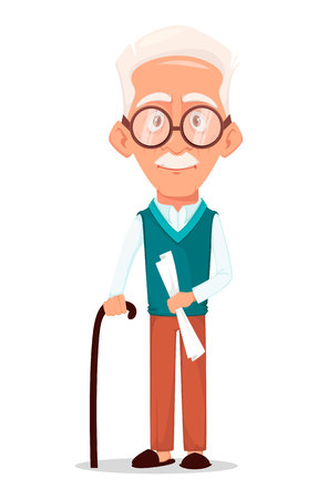 Grandfather wearing eyeglasses. Silver haired grandpa. Cartoon character with walking stick. Vector illustration on white background. Illustration