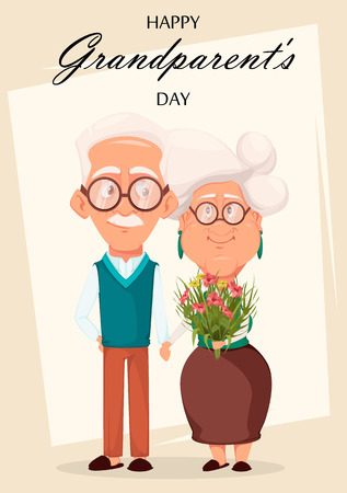 Grandparents day greeting card. Grandmother and grandfather together. Silver haired grandma and grandpa holding hands of each other. Pretty cartoon characters. Vector illustration 일러스트
