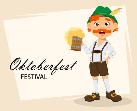 Oktoberfest, beer festival. Funny redhead man, cartoon character holding a pint of beer. Vector illustration on abstract background
