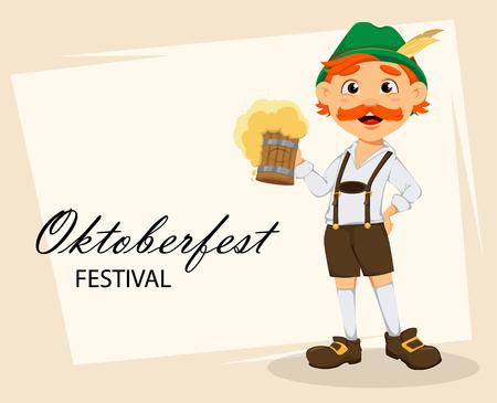 Oktoberfest, fête de la bière. Homme rousse drôle, personnage de dessin animé tenant une pinte de bière. Illustration vectorielle sur fond abstrait Vecteurs