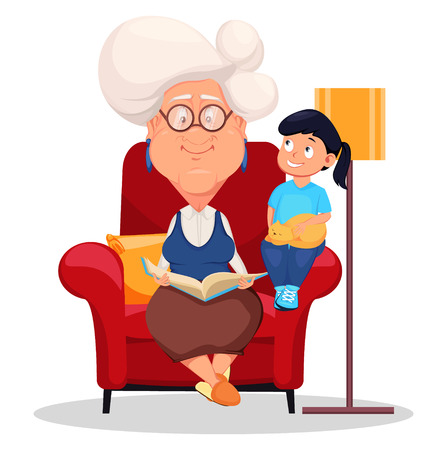 Grandmother wearing eyeglasses. Silver haired grandma sitting in armchair and reading a book to her granddaughter. Cartoon character. Vector illustration on white background.