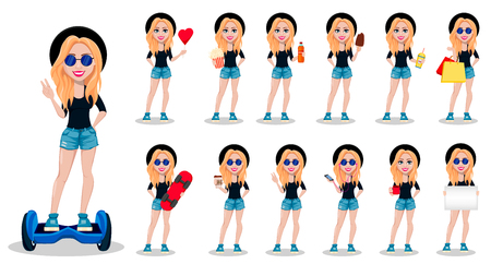Hipster woman, beautiful young girl. Modern lady, set of thirteen poses. Vector illustration.