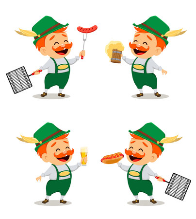 Oktoberfest, beer festival. Funny man, cartoon character, set of four poses. Vector illustration on white background. Stock Illustratie