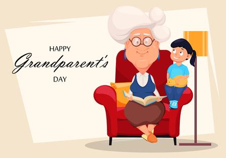 Tarjeta de felicitación del día de los abuelos felices. Abuela de cabello plateado sentada en un sillón y leyendo un libro a su nieta. Personaje animado. Ilustración vectorial Ilustración de vector