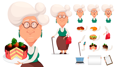 Grandmother wearing eyeglasses. Silver haired grandma, pack of body parts, emotions and things. Build your personal design of cartoon character. Vector illustration