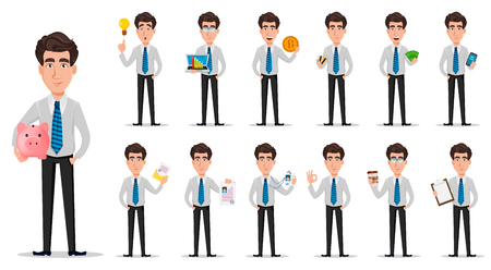 Business man in office style clothes. Businessman, banker, manager, cartoon character, set of thirteen poses. Vector illustration