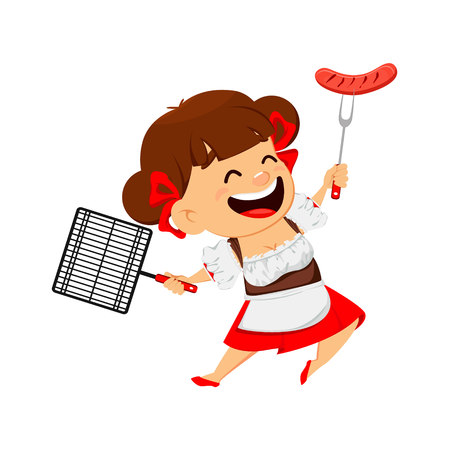 Oktoberfest, beer festival. Funny woman, cheerful cartoon character holding grilled sausage and grid. Vector illustration on white background.