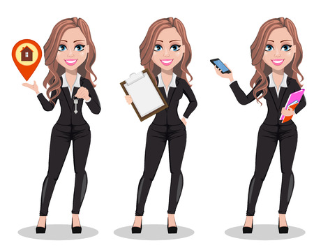 A real estate agent cartoon character, set of three poses. Beautiful realtor woman holding key, holding clipboard and holding smartphone. Cute business woman. Vector illustration Çizim