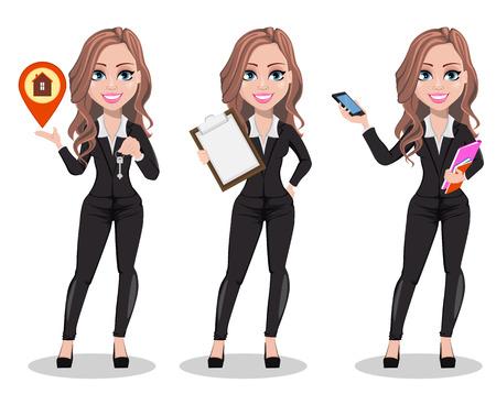 Eine Immobilienmakler-Zeichentrickfigur mit drei Posen. Schöne Maklerfrau, die Schlüssel hält, Zwischenablage hält und Smartphone hält. Nette Geschäftsfrau. Vektorillustration Vektorgrafik