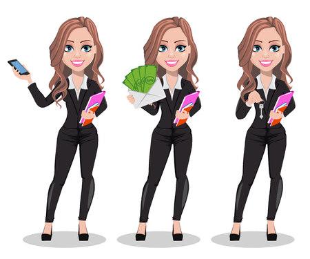 Postać z kreskówki agent nieruchomości, zestaw trzech poz. Piękna kobieta w handlu nieruchomościami, trzymając smartfon, trzymając pieniądze i przytrzymując klawisz. Ładna biznesowa kobieta. Ilustracji wektorowych