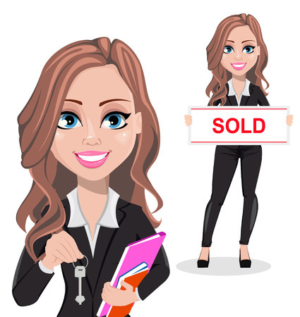 A real estate agent cartoon character, set of two poses. Beautiful realtor woman holding key and holding banner with text Sold. Cute business woman. Vector illustration