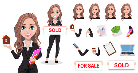 A real estate agent cartoon character. Beautiful realtor woman. Cute business woman. Pack of body parts, emotions and things. Build your own design. Vector illustration.