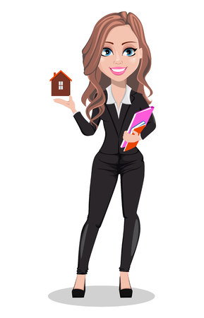 A real estate agent cartoon character. Beautiful realtor woman holding model of house. Cute business woman. Vector illustration