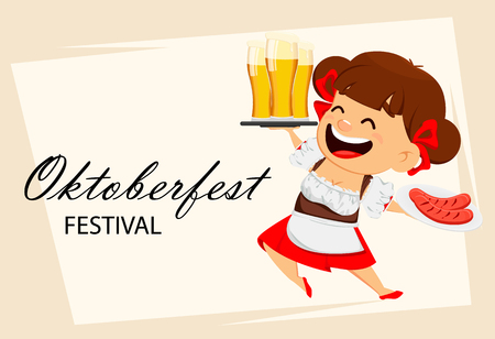 Greeting card for Oktoberfest, beer festival. Funny woman, cheerful cartoon character holding beer and grilled sausages. Vector illustration