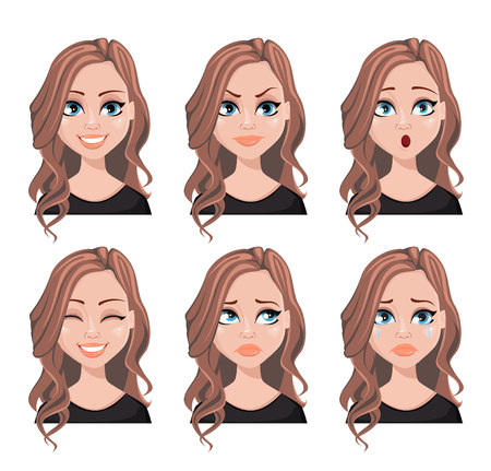 Espressioni del viso di donna agente immobiliare con capelli castani. Set di emozioni femminili diverse. Bellissimo personaggio dei cartoni animati. Illustrazione vettoriale isolato su sfondo bianco. Vettoriali