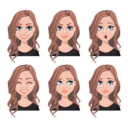 Expresiones faciales de mujer inmobiliaria con cabello castaño. Conjunto de diferentes emociones femeninas. Hermoso personaje de dibujos animados. Ilustración de vector aislado sobre fondo blanco. Ilustración de vector