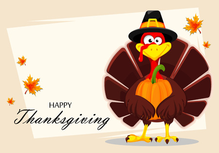 Happy Thanksgiving, greeting card, poster or flyer for holiday. Thanksgiving turkey holding pumpkin with both wings. Vector illustration on abstract light background