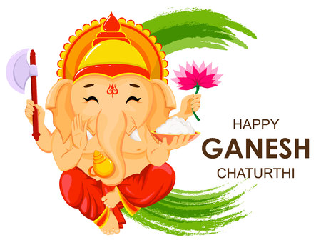 Happy Ganesh Chaturthi greeting card for traditional Indian festival. Sitting Lord Ganesha with four hands. Vector illustration on green watercolor background.