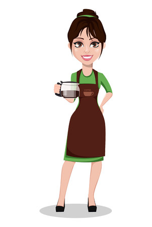 Young beautiful female barista in professional uniform. Cute cartoon character holding coffeepot with coffee. Vector illustration.