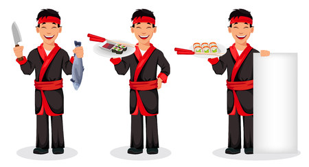 Japanese chef cooking sushi rolls, set of three poses. Handsome cartoon character holding knife and fish, holding sushi on tray and standing near blank banner. Vector illustration Illustration