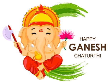 Happy ganesh chaturthi greeting card for traditional indian festival happy ganesh chaturthi greeting card for traditional indian festival sitting lord ganesha with flower and m4hsunfo