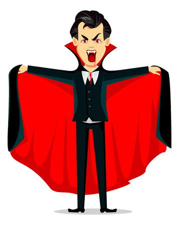 Fröhliches Halloween. Vampir-Cartoon-Figur, die einen schwarzen und roten Umhang trägt und ein gruseliges Gesicht macht. Verwendbar für Einladung, Poster, Flyer, Grußkarte. Vektor-Illustration