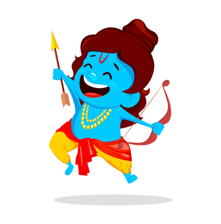 Lord Rama jumping with bow and arrow. Funny cartoon character for Navratri festival of India. Vector illustration on white background