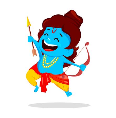 Lord Rama sautant avec un arc et une flèche. Personnage de dessin animé drôle pour le festival Navratri de l'Inde. Illustration vectorielle sur fond blanc Vecteurs