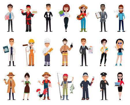 Persone di diverse professioni. Set di ventuno pose con personaggi dei cartoni animati di varie occupazioni. Illustrazione vettoriale creativo Vettoriali