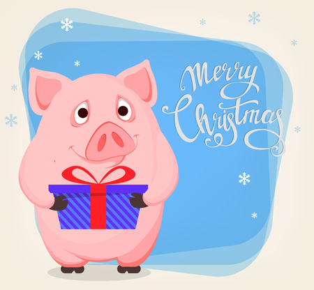 Merry Christmas greeting card with cute cartoon pig, the symbol of New Year 2019. Funny piggy holding blue gift box. Vector illustration.