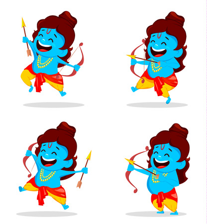 Lord Rama with bow and arrow, set of four poses. Funny cartoon character for Navratri festival of India. Vector illustration.