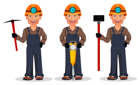 Miner man, mining worker, set of three poses. Handsome cartoon character holding pickaxe, holding jackhammer and holding sledgehammer. Vector illustration
