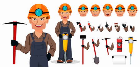 Miner man, mining worker. Handsome cartoon character. Set of equipment, tools and emotions. Build your personal design. Vector illustration