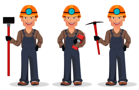 Miner man, mining worker, set of three poses. Handsome cartoon character holding sledgehammer, holding dynamite and holding pickaxe. Vector illustration