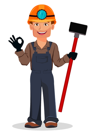 Miner man, mining worker. Handsome cartoon character holding sledgehammer and showing ok sign. Vector illustration on white background
