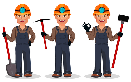 Miner man, mining worker, set of three poses. Handsome cartoon character holding shovel, holding pickaxe and holding sledgehammer. Vector illustration Çizim