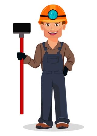 Miner man, mining worker. Handsome cartoon character holding sledgehammer. Vector illustration on white background Çizim
