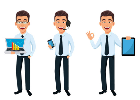 Business man, set of three poses. Cartoon character holding laptop, holding smartphone and holding tablet. Young handsome smiling businessman in office style clothes - stock vector
