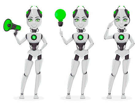 Robot with artificial intelligence, female bot, set of three poses. Cute cartoon character holding loudspeaker and having a good idea. Future concept. Vector Illustration