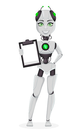 Robot with artificial intelligence, female bot. Cute cartoon character holding clipboard. Humanoid cybernetic organism. Future concept. Vector Illustration