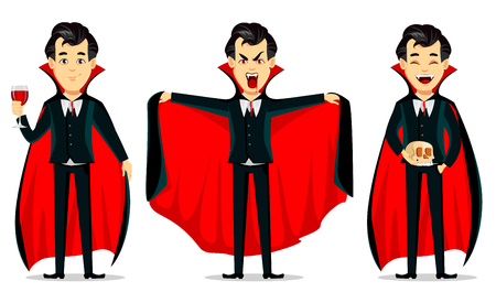 Happy Halloween. Vampire cartoon character wearing black and red cape. Set of three poses, holding glass with blood, making scary gesture and holding skull. Vector illustration 矢量图片