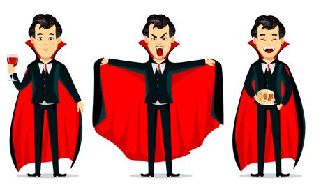 Joyeux Halloween. Personnage de dessin animé de vampire portant une cape noire et rouge. Ensemble de trois poses, tenant un verre avec du sang, faisant un geste effrayant et tenant le crâne. Illustration vectorielle Vecteurs