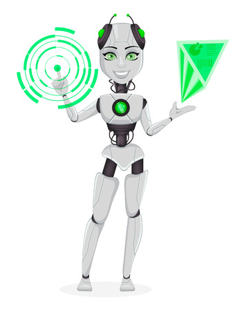 Robot with artificial intelligence, female bot. Cute cartoon character working with holographic interface. Humanoid cybernetic organism. Future concept. Vector Illustration Vektorové ilustrace