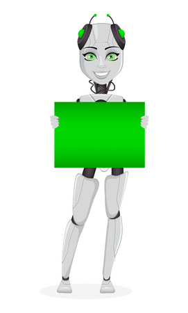 Robot with artificial intelligence, female bot. Cute cartoon character holding green placard. Humanoid cybernetic organism. Future concept. Vector Illustration