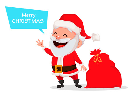 Merry Christmas. Funny Santa Claus. Cheerful cartoon character saying greeting words. Usable for greeting card, banner, poster, flyer, label or tag. Vector illustration.