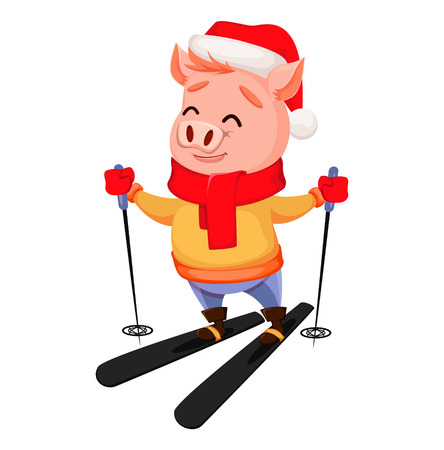 Merry Christmas. Cute pig wearing Santa Claus hat and scarf. Cheerful funny cartoon character skiing. Vector illustration.