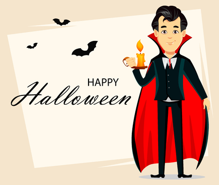 Happy Halloween greeting card, invitation, poster or flyer. Vampire holding burning candle, cartoon character wearing black and red cape. Vector illustration